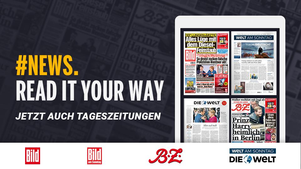 Deutschlands größte Zeitungen jetzt bei Readly